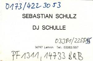 Erste Visitenkarte DJ Schulle (1996)